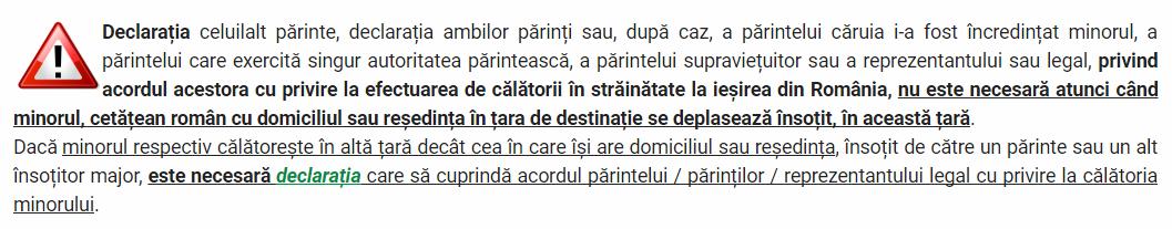 Condiții de ieșire din țară pentru cetățenii români minori