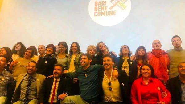 Ligia și Daniel Tomescu alături de ceilalți candidați pe lista Bari Bene Comune. Foto Bari Today